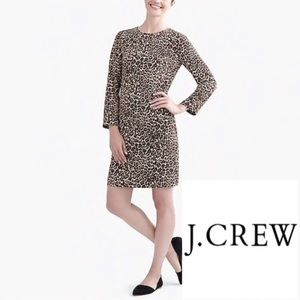 J.Crew Cheetah print Long sleeve Crepe Dress-NWT